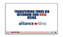 Interbank GIRO (IBG) funds transfer via allianceonline